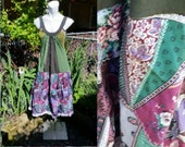 192--Tanktop dress-Summer fashion-Recycled materials-Size large-Womens-Festival clothing-Boho-Gypsy-Hippie-Teen-Patch work-Green tones-Wide