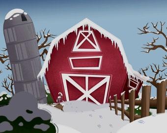 Winter on the Farm Print