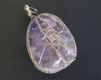 "Amethyst pendant  with sterling silver wire ""lace"""