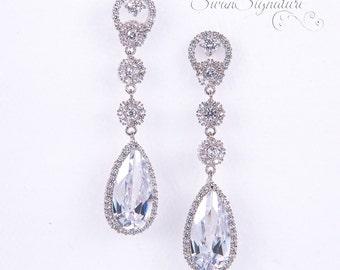 Crystal Bridal earrings Wedding jewelry Swarovski Crystal Wedding earrings Bridal jewelry, Crystal Drop Bridal Earrings stl122