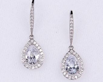 Wedding Earrings Zirconia Earrings Wedding Jewelry Bridesmaid Earrings Bridesmaid Accessories Dangling Teardrop Earrings stl144