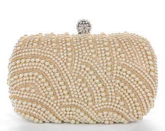 Gold Pearl Clutch Bag, Evening Clutch, Bridal Clutch Bag, Custom Wedding Accessories c28