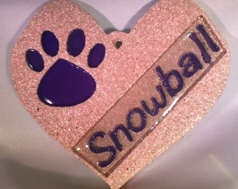 Personalized Paw Print On My Heart Ornament (Pebble)
