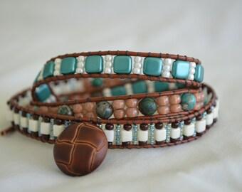 Aqua Terra Jasper Stone Wrap Bracelet