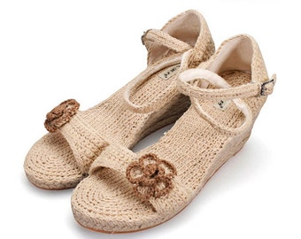Ms high-heeled shoes in summer Pure manual weaving straw sandals wedges wedges women wedge sandals wedges