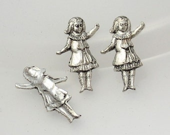 8pcs--Little Girl, Brass Stamping, Antique Silver, 22x14mm (B22-15)