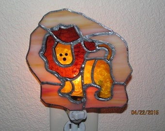 Lion stained glass night light