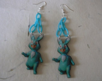 large lasercut crazy blue bunny earrings statement