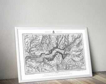 Yosemite National Park Map | California Map | Yosemite National Park Wall Hanging | Map Art | Travel Map | Topographic Map | USGS Topo