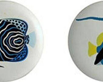 Color Ocean Fish Ceramic Knobs or Drawer Pulls  Set of 4