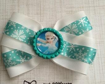 Frozen Elsa Bottle Cap Hair Bow