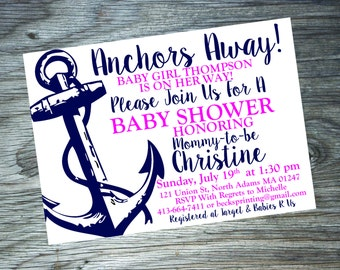 Baby Shower Invitation { Anchors Away - Girl }