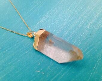 Gold Plated Quartz Necklace /14k Gold/Quartz Point Boho Necklace