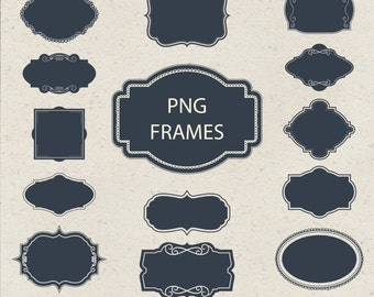 14 digital labels, digital frames, digital clip art, transparents labels, frame clip art, frame clipart INSTANT DOWNLOAD