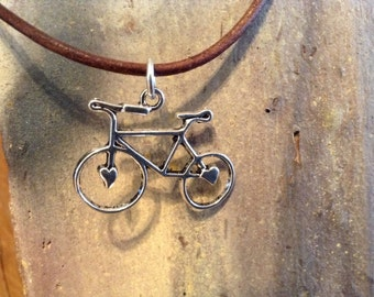Bike Charm Necklace on Brown Leather Cord!