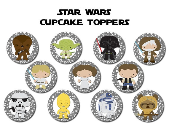 Star Wars Cupcake Toppers Printable Digital by ...
