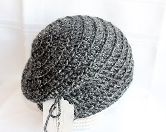 Ready to Ship; 2-4T Black and Gray Slouch Beanie