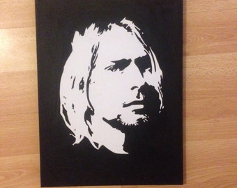Kurt Cobain from Nirvana handmade painted in black oil paint
