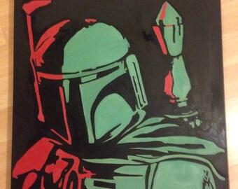 Bobafett starwars oilpainting on canvas