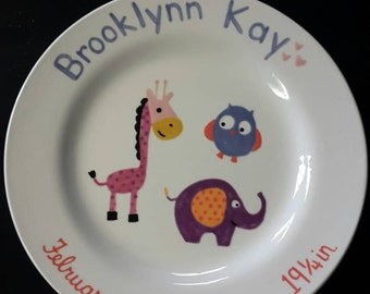 Baby birth announcement plate, personalized baby announcement, handpainted baby plate, owl, giraffe, elephant