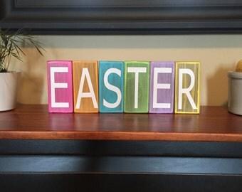 Spring Easter Stacker Blocks Primitive Home Decor