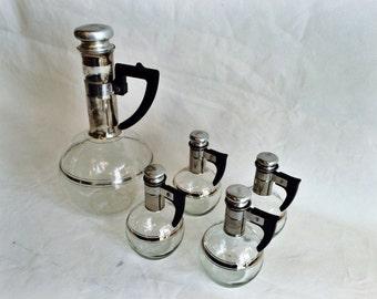 Mid Century Glass Bakelite Metal Carafe Set