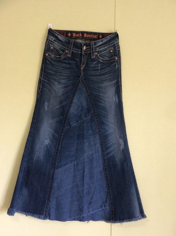 rock revival denim skirt by fortheloveofhobbies on etsy