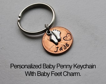 Personalized Baby Penny Keychain.  Baby Feet.  Lucky penny. Baby shower gift, Welcome baby gift,New Baby, Mother/father gift, Lucky year