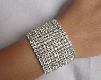 Silver cuff bracelet/chunky bracelet/bracelet cuff/ wedding bracelets/bride bracelet/crystal women jewelry bracelet/rhinestones bracelets