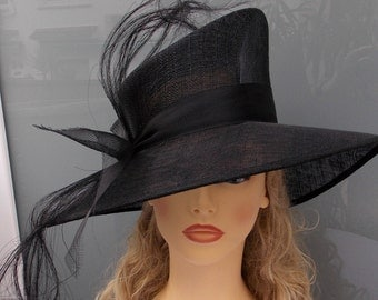 ONLY ONE ITEM 99EURO - Vintage style hat, Black sinamay hat, Wedding hat, Event hat, Ascot hat, Race hat, Derby hat