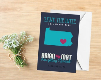 Save the Date, State Save the Date Postcard, Destination Wedding, Wedding Invitations, Pennsylvania, Stationery, State Map
