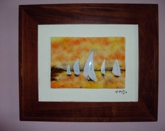 "Fused glass wall art. ""Sailboats in the Sunset"". (framed)"