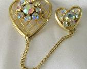 Double Heart Aurora Borealis Rhinestone Brooch