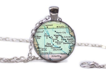 Iowa Map Pendant Map Necklace Iowa Jewelry