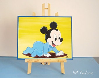 Baby Mickey Mouse Canvas, Disney Canvas, Handmade Painting for Kids Rooms or Playrooms, Art for Children, 25x30cm
