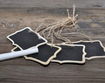 8/pk Scalloped Chalkboard Tag w/ Jute; Chalkboard Gift Tags; Fancy Gift Tags