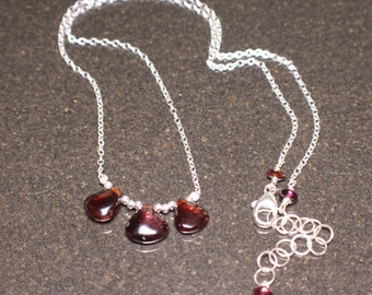 3 Garnets and Sterling Silver (January Birthstone) Necklace