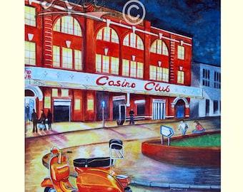 Wigan Casino, scooter, northern soul, art print, A3 , retro, vintage, mods, vespa.