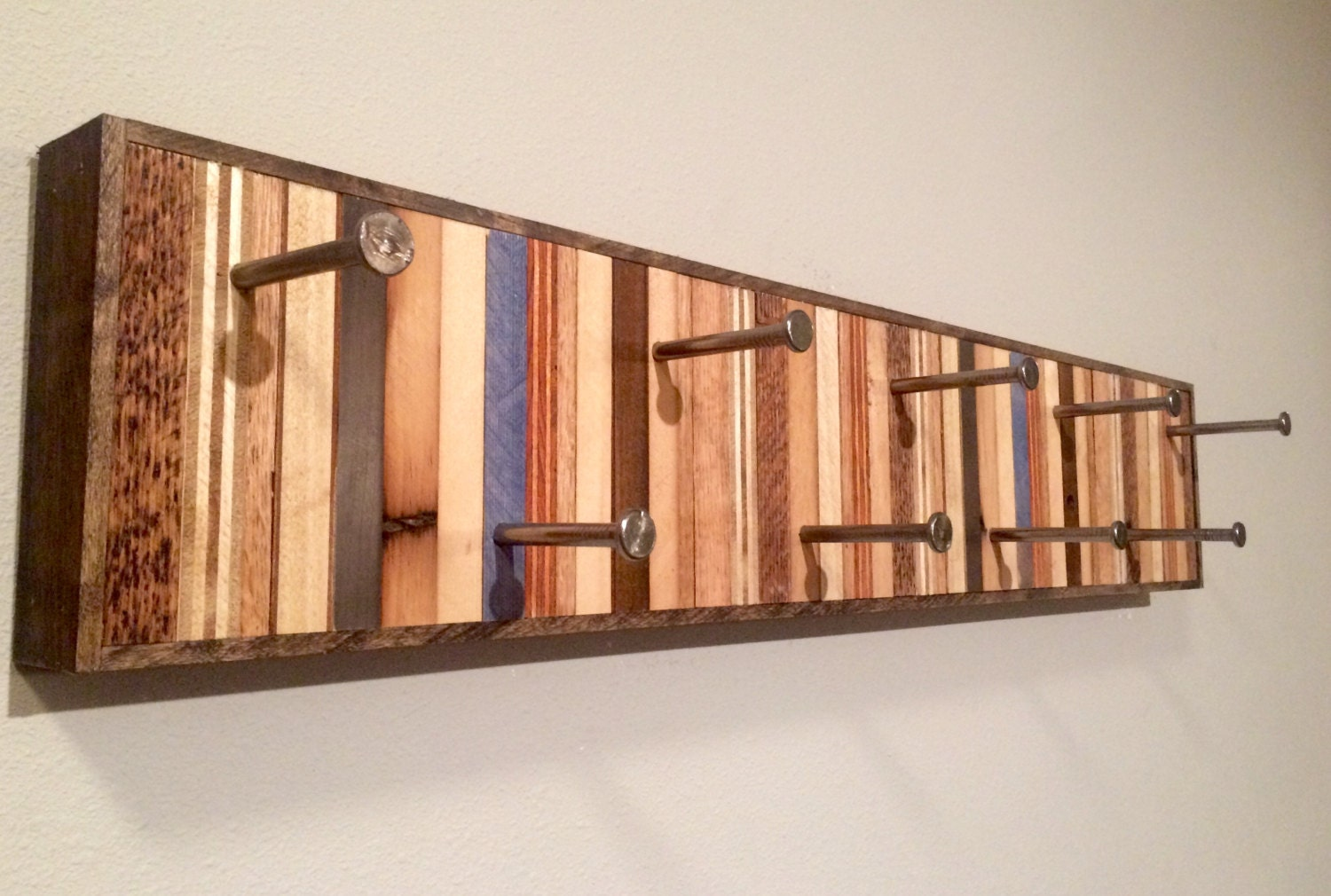 Modern Wall Hanging Coat Rack With Blue Accents Large
