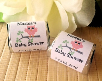 150 Baby Shower Favors, Owl baby Shower, owl baby shower favors,baby shower candy bar wrappers,boy baby shower favors,girl baby shower favor