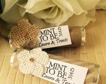 Shabby Chic mint rolls,  Kraft Paper Mint Roll, kraft mints, mint favors, chevron mints, mint to be favors, mint wedding