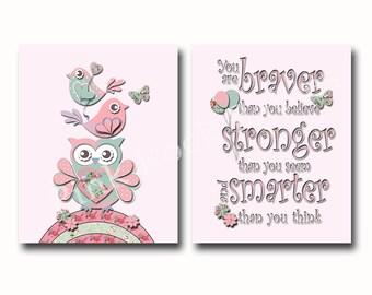 Baby girl wall art, nursery decor, Kids room decor, children wall art, girl bedroom art, pink owl, Winnie wall quote, Braver than believe
