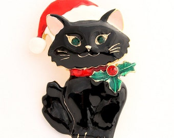 Christmas Brooch, Black Kitten Broach, Christmas Cat, Kitty Cat Jewelry, Brooches for Cat Lover, DIY Project Jewelry Craft Embellishment