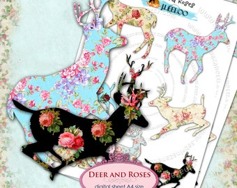 DEER AND ROSES png jpg files silhouette roses - Digital collage sheet for scrapbooking altered art papers instant download printable - pp126