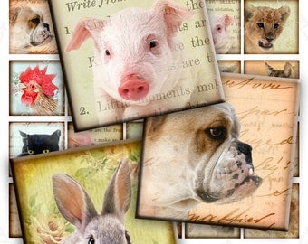 Digital collage sheet ANIMAL FRIENDS 1.5 inch circle - digital images puppies pendants magnet stickers - instant download printable - qu334