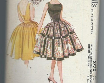 McCall's 5770  Vintage 1960's  Sleeveless Dress with Attached Petticoat
