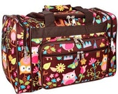 Personalized Owl Print Canvas Duffle Bag