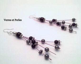 Earrings pendants black and grey