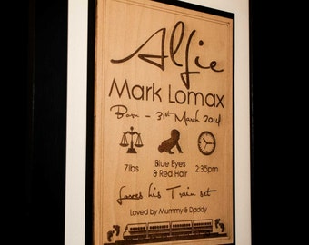 Laser Engraved Birth Announcement Sign