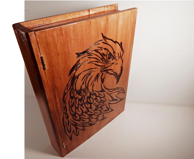 Wooden Book Box hawk falcon eagle bird woodburning pyrography